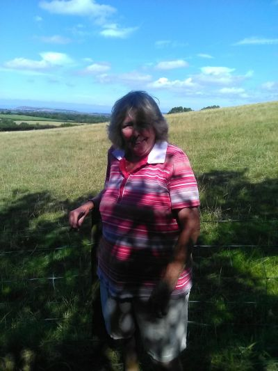 Brenda Walker on her walk up Brent Knoll